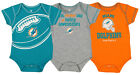 OuterStuff NFL Infant 3 Pack Creeper Set, Miami Dolphins