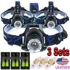 10x 90000LM T6 LED Headlamp Zoomable Rechargeable Headlight Lamp 18650 +Charger