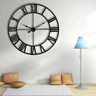 Large Wall Clock Antique 3D Vintage Metal Roman Numerals 60CM Silent Sweep Decor