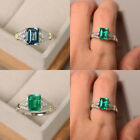 Uk Women Ladies Square Topaz Crystal Rings Wedding Engagement Ring Jewelry Gifts