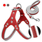 Rhinestone Step In Dog Harness Leads Reflective Soft Leather for French Bulldog