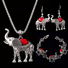 Women Retro Turquoise Elephant Necklace Earrings Bracelet 3pcs Set Jewelry Gifts