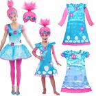 Women Girl Fancy Dress Wig Trolls Poppy Costume Child Cosplay Party Outfit Sets image