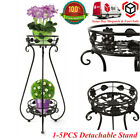 Black Metal Plant Stand 2 Tier Rack Detachable Flowerpot Shelf Display Decor UK
