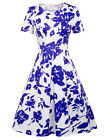 Belle Poque Retro Vintage Short Sleeve Floral Pattern Pleated A-line Tea Dress