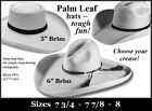 "XX-LARGE ~ Guatemalan Palm Leaf Straw ~ COWBOY HAT -WIDE 5"" & 6"" BRIM ~ Western"