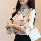2018 Autumn Korean Fashion Women's Chiffon Blouse Floral Bow Long Sleeve Shirt