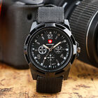 SWISS Round Dial Nylon Strap Band Men Boy Military Army Quartz Wrist Watch Gift image