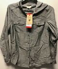 NEW!! Boston Traders Women's Lightweight Hooded Button-Down Shirt Jacket Variety