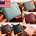 US Unisex Leather Slim Bifold Credit ID Card Holder Wallet Billfold Purse Clutch image