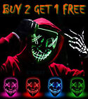 Kyпить Halloween LED Glow Mask 3 Mode EL Wire Costume Clubbing Rave Cosplay Party Purge на еВаy.соm