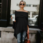 Women Ladies Off Shoulder Warm Poncho Jumper Sweater Knitted Cape Wrap Shawl USA