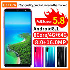 """P33/p33 Pro Smart Phone 5""""/5.7'' Unlocked Android 8.1 Hd Dual Sim Mobile 4g+64g"""