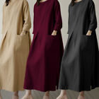 Ladies Women Loose Party Swing Dress Long Sleeve Kaftan Long Maxi Dress Plus