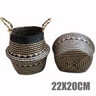 Multi-purpose Seagrass Belly Basket Plant Potted Foldable Laundry Storage Bag