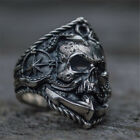 Retro Pirate Anchor Compass Biker Rings Men Skull Alloy Ring Punk Jewelry Gift