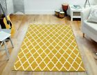 MEDIUM - EXTRA LARGE OCHRE YELLOW MOROCCAN TRELLIS QUATREFOIL NON-SHEDDING RUG