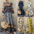 Women 3/4 Sleeve Vintage Casual Long Shirt Dress Floral Print Midi Dress Kaftan
