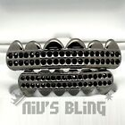 Gunmetal Bling Out Iced GRILLZ Black Onyx CZ Tooth Mouth Teeth Cap Hip Hop Grill