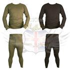 BRITISH ARMY STYLE POLYCOTTON OLIVE GREEN & BLACK THERMAL BASE LAYER,LONG JOHNS