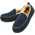 VONMAY Men's Moccasin Slippers Fuzzy House Shoes Fluffy Fur Warm Memory Foam