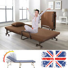 Foldable Guest Bed With Mattress Folding Away Recliner Metal Leg Office Home UK