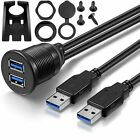 Car Dash Panel Flush Mount Dual USB 3.0 1m Male to Female Extension Cable