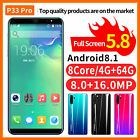 4gb+64gb P33 Plus Smartphone 4g Mobile Phone Android 8.1 Dual Sim 13mp Touch Au