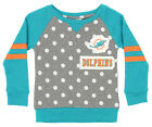 Outerstuff NFL Little Girls Miami Dolphins Logo Polka Dot Long Sleeve Crew $24.95 USD on eBay