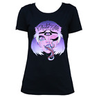 Lowbrow Art Obturar Me Color Camiseta Negra Artista Cereza Martini Tattoo Fitted