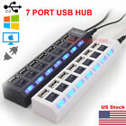 Kyпить US 7 Port USB 2.0 HUB LED Powered High Speed Splitter Extender Cable Black White на еВаy.соm