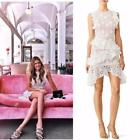 AUTH Alexis Arleigh White Floral Lace Ruffled Sheath Dress White/Nude