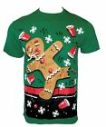 Men's UGLY CHRISTMAS Funny Graphic Novelty T-Shirt PARTY CUP GINGERBREAD MAN