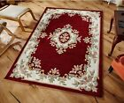 SMALL - EXTRA LARGE THICK 100% WOOL TRADITIONAL CLASSIC AUBUSSON ROYAL RED RUG