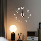 Novelty DIY Wall Analog Clock 3D Mirror Surface Number Sticker Home Office Clock