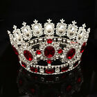 """6.7"""" Wide Large Crystal Gold King Queen Round Crown Wedding Prom Party Pageant"""