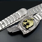 Mens Wolf Belt Pin Buckle with Knife Stainless steel Cowboy Punk Waistband Strap