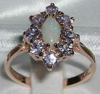Solid 9ct Rose Gold Natural Opal & Tanzanite Womens Cluster Ring - Sizes J to Z