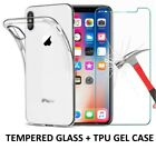 TPU GEL CASE + TEMPERED GLASS SCREEN PROTECTOR FOR APPLE IPHONE 8 7 PLUS 5 6 X