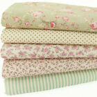 100% COTTON FABRIC BUNDLE Green Vintage Rose Spot Ditsy Floral Craft Material