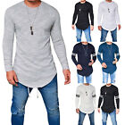 Men's Muscle Gym T-Shirt Longline Slim Fit Long Sleeve Curved Hem Tee Top Casual image