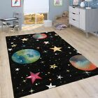 Space Children's Rug Play Kids Room Carpet Planets Stars Design Modern Black Mat