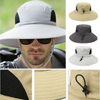 Adjustable Mens Wide Brim Sun Hat Outdoor Camping Fishing Sunscreen Boonie Hat