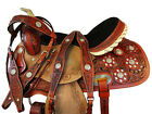 BLING COWGIRL WESTERN BARREL RACING HORSE SADDLE 15 16 TOOLED LEATHER TACK SET
