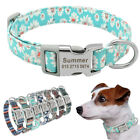 Custom Personalized Floral Nylon Pet Doggie Dog Collars Engraved 7 Patterns S-L