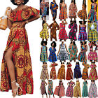 Women Traditional African Printed Dashiki Split Maxi Dress Skirt Crop Top Outfit