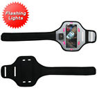FLASHING LIGHTS Gym Walking Jogging Running Armband Case Phone Holder Strap