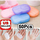 Kyпить 50Pcs Disposable Boxed Soap Paper Portable Travel Hand Washing Scented Sheets a6 на еВаy.соm
