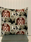 "Red Barn Farm Animals Flannel Pillow Cover 20""x20"" Cover/Farm/Country"