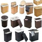 Portable Bamboo Laundry Hamper Basket Duty Clothes Storage Sorter Bin w/ Lid